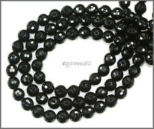 "15.8"" Black Onyx Faceted Round Beads 6mm #58011"