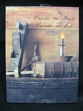 Hands to Work Heart to God Lighted Canvas Wall Decor Sign Primitive