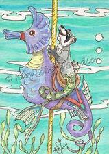 Raccoon fish Sea horse Carousel aceo EBSQ Loberg fantasy Ocean animal Mini Art