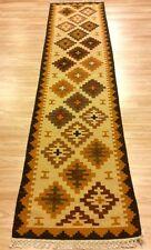 Tribal Kilim Hallway Runner Rug Handwoven Wool Beige Mustard XL 75x309cm 60%OFF