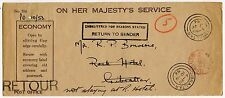 GIBRALTAR OFFICIAL PAID to ROCK HOTEL RETURNED OHMS 1956