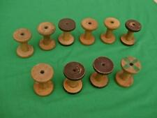 10 ANTIQUE WOODEN THREAD SPOOLS BOBBIN SPINDLES INDUSTRIAL TEXTILE MILL