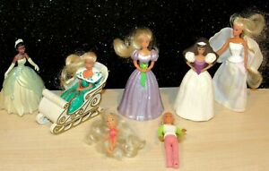 Vintage 1990s McDonalds Barbie Happy Meal Toys Lot of 7 small DOLLS