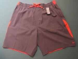 Men's NWT Nike Swim Trunks Size XXL Shorts Netted Swimwear Gray/Orange