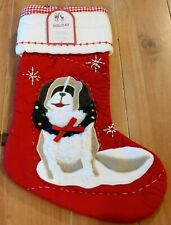 New Pottery Barn Kids QUILTED ST. BERNARD Wreath Dog Christmas Holiday Stocking