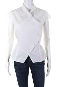Elm Design Womens Cotton Cap Short Sleeve Asymmetric Button Top White Size 2