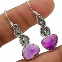 Natural Rough Amethyst 925 Solid Sterling Silver Earrings, IC6-3
