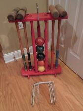 VINTAGE ALL WOOD CROQUET SET w/ RED CART - 5 BALLS - 5 MALLETS - 6 WICKETS