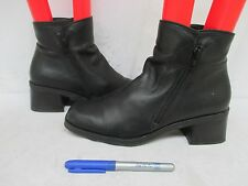 Nine West Davnia Black Leather Double Zip Ankle Boots Size 8.5 M
