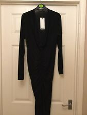 Maxi lenght petite black drape neck dress with ruching by Boohoo - size 14