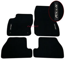 Fits 11-15 Ford Focus Black Nylon Floor Mats Carpets w/ White Embroidery