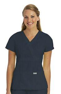 """Grey's Anatomy #4153 V-Neck Mock Wrap Scrub Top in """"Steel"""" Size XL"""