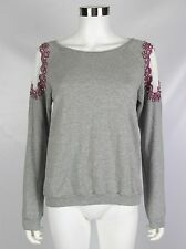 Kut from the Kloth Womens Sweatshirt Gray Sheer Shoulder Embellished Size Small