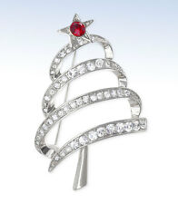 JONES NEW YORK Silver-Tone Crystal CHRISTMAS TREE Pin BROOCH