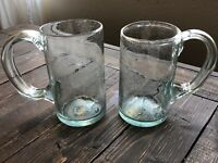 Handblown Glass Beer Steins Handmade Set Of Two Glasses Clear Bubbles