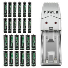 Portable USB Charger+ 12 AA + 12 AAA 1.2V Ni-MH Rechargeable Battery GO!GREEN