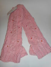 Womens Girls Fingerless Gloves Arm Warmers Crochet Pink Youth Size 8-16 NWT