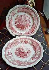 """2 Spode Archive Collection Regency Series Red Plates """"Jasmine"""" & """"May"""""""