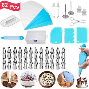 82pcs Cupcake Cake Decorating Tool Kit Baking Supplies Lcing Piping Nozzles Tips