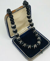 Vintage Necklace Silver Tone Black Glass Beads Graduated Collar Length Costume