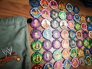 🌟55 x WWE Power Chipz Bundle, job lot with Official Pouch. Wrestling wrestler🌟