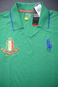Polo Ralph Lauren Sport Men's Italia Patch Big Pony Stem Poly Polo Shirt XS