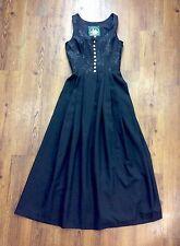 Vintage Wenger Austrian Style Dirndl Long Black Rose Oktoberfest Dress Womens 36