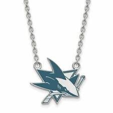 SS NHL San Jose Sharks Lg Enl Pendant w/Necklace