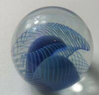 1988 Robert Eickholt Art Glass Paperweight Swirl Iridescent Pulled Feather