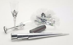 6 Ladies night out party kit feather tiaras blowers confetti glasses - silver