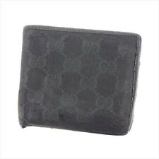 4f31affca0f Gucci Wallet Purse Bifold GG Black Canvas Leather Mens Authentic Used L2592
