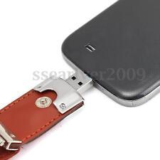 16G 16GB Leather Micro USB Flash Memory Stick Pen Drive Disk OTG Phone Computer