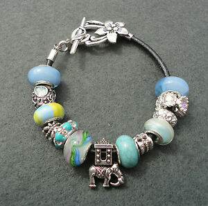 Blue Silver Rhinestone Elephant European Style Beads Charm Bracelet Flower Clasp