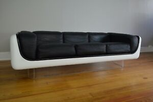 William Andrus Steelcase Space Age Mid Century Modern Fiberglass & Leather Sofa