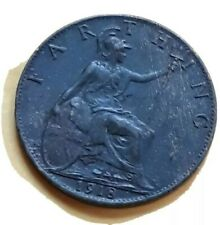Nice CONDITION 1918 UK Great Britain Farthing Coin, No Reserve!