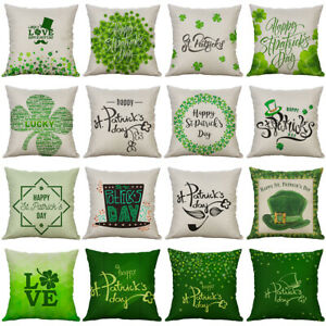 St. Patrick's Day Pillow Cover Green Shamrock Clover Irish Lucky throw Pillow
