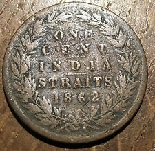 PIECE DE 1 CENT 1862 INDIA STRAITS SETTELMENT (199) ETAT MOYEN MAIS TRES RARE !!