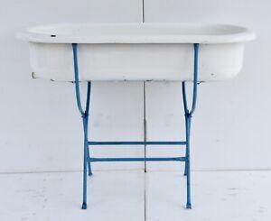 Vintage Porcelain Enamel Baby Bath on Wrought Iron Stand