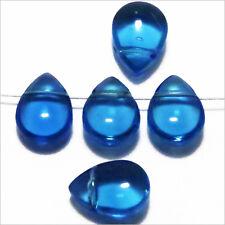 Lot de 20 Perles Tchèques Gouttes en verre 11x8mm Bleu