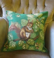 GREEN FOREST SQUIRREL GOING NUTS ACORN COUNTRYSIDE PILLOW CUSHION COVER ONLY