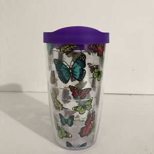 TERVIS TUMBLER 16 Ounce With Butterfly with purple Lid.
