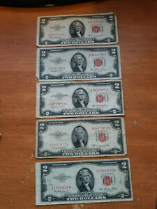 (LOT 5) 1953 $2 Two Dollar Bill Red Seal US Note