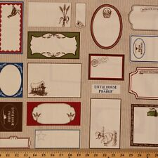 1 Fat Quarter - COTTON - Little House On The Prairie Sewing Quilt Labels M415.12