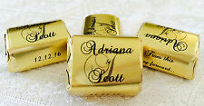 120 GOLD FOIL PERSONALIZED MONOGRAM WEDDING CANDY wrappers/stickers for NUGGETS