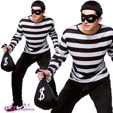 Mens Cat Burglar Thief Bank Robber Fancy Dress Costume Convict Outfit Large