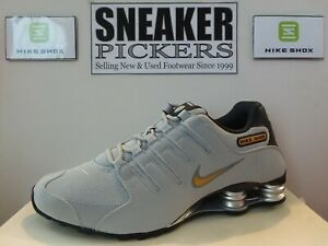 Nike Shox NZ - 378341 008 - Wolf Grey / Metallic Gold - Sz: 12 - Authentic - NEW
