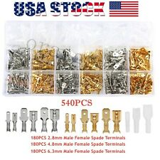 540x Assortment Terminals Set Electrical Wire Crimp Connectors Male Female Spade