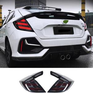 For Honda Civic Hatchback Tail Lights Assembly 2016-2020 Black LED Rear Lamps