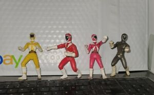 Power Rangers McDonalds Happy Meal Figures Set of 4 Used Pink Yellow Red & Gray
