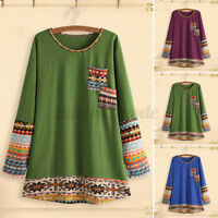 Women Long Sleeve Patchwrok Shirt Ladies Casual Loose Top Tunic Blouse Plus Size